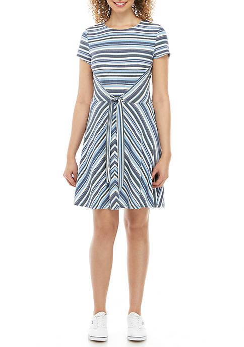 BeBop Short Sleeve Tie Front Stripe Dress