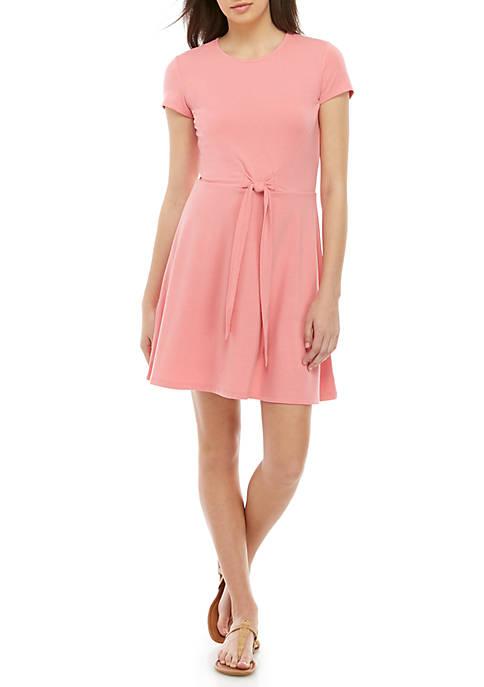 Short Sleeve Tie Front Dress