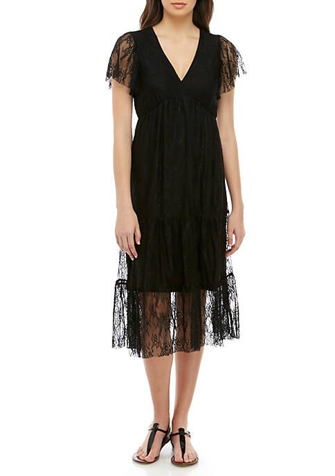 BeBop Short Sleeve V Neck Flutter Dress
