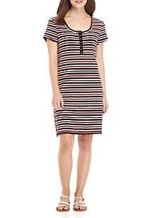 Short Sleeve Rib Knit Button Placket Stripe Dress