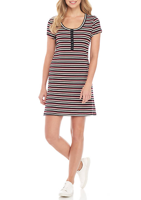 BeBop Short Sleeve Pink Stripe Dress