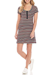 Short Sleeve Pink Stripe Dress