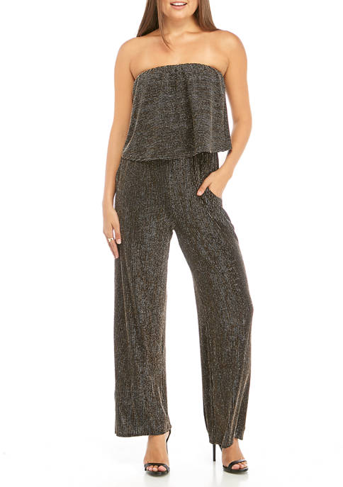 BeBop Juniors Off The Shoulder Popover Glitter Jumpsuit