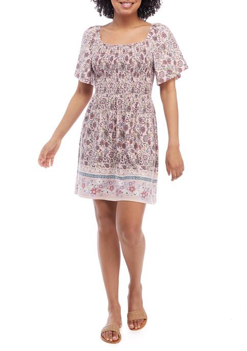 Juniors Flare Sleeve Smocked Floral Dress
