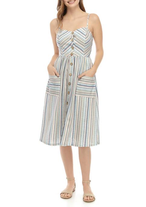 BeBop Juniors Linen Button Midi Dress