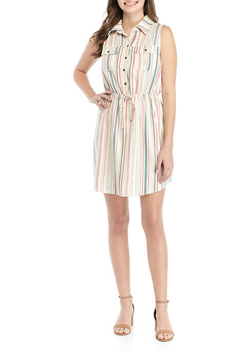 BeBop Sleeveless Button Front Stripe Shirt Dress