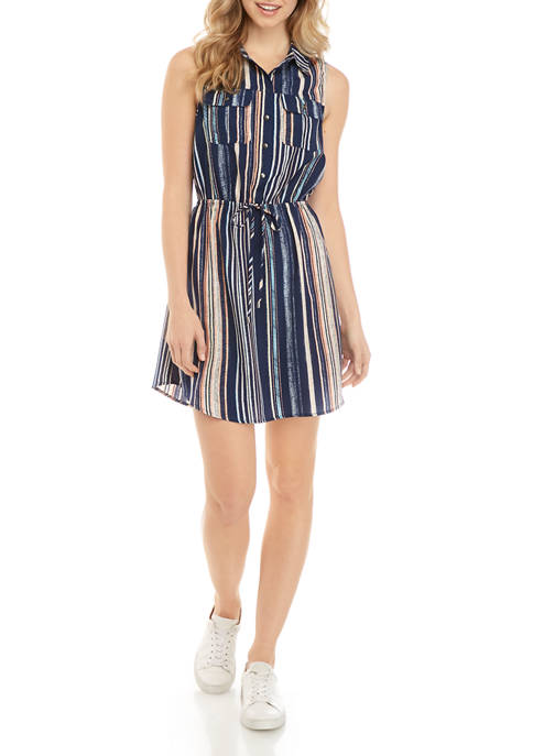 BeBop Juniors Sleeveless Challis Stripe Shirt Dress