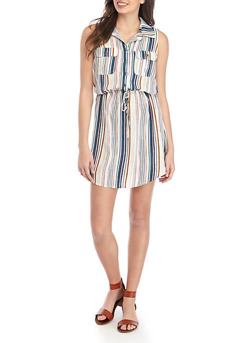 BeBop Sleeveless Button Front Stripe Shirt Dress