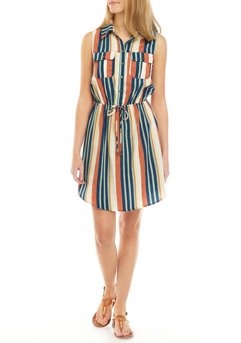 BeBop Juniors Challis Stripe Tank Shirt Dress