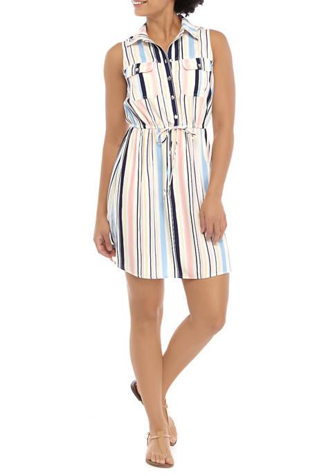 Juniors Challis Stripe Dress