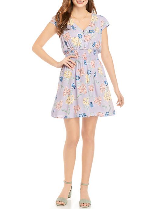 Juniors Cap Sleeve Button Front Smock Waist Dress