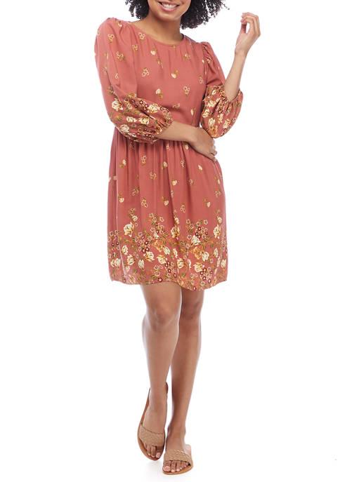 BeBop Juniors 3/4 Sleeve Printed Woven Dress