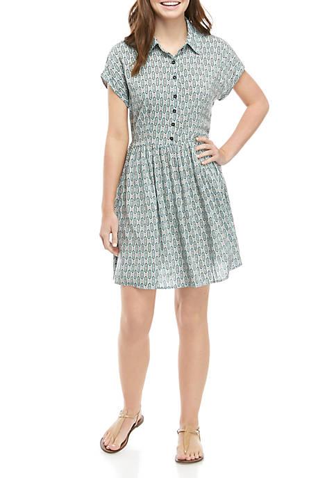 Short Sleeve Button Front Shirt Dress