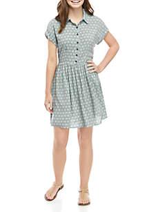 BeBop Short Sleeve Button Front Shirt Dress