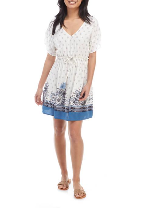 Juniors Short Sleeve V-Neck Tie Waist Dress