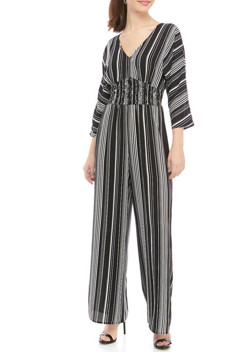 Womens 3/4 Sleeve V-Neck Printed Smocked Jumpsuit