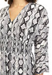 Juniors 3/4 Sleeve V Neck Printed Smocked Jumpsuit