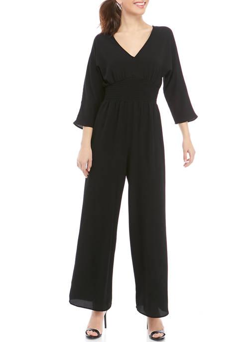 BeBop Womens 3/4 Sleeve Solid Smocked Jumpsuit