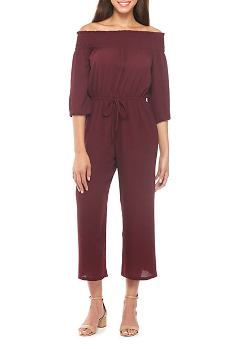 BeBop Off-The-Shoulder Smocked Three-Quarter Sleeve Jumpsuit
