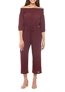 Off-The-Shoulder Smocked Three-Quarter Sleeve Jumpsuit