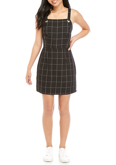 BeBop Tank Bib Plaid Jumper Dress