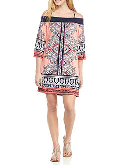 Trixxi Off The Shoulder Banded Scarf Print Dress