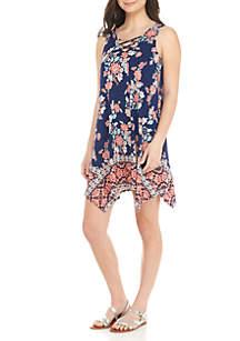 Hanky Hem Sleeveless Floral Swing Dress