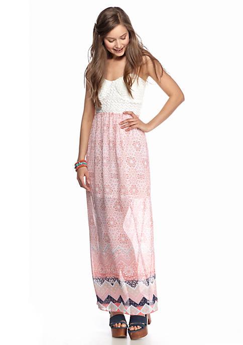 Crochet Top Printed Maxi Dress