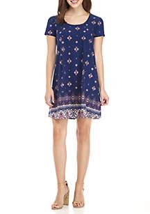 Scoop Neck Pleated Short Sleeve Dress