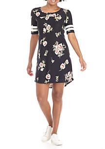 Short Sleeve Varsity Print Dress