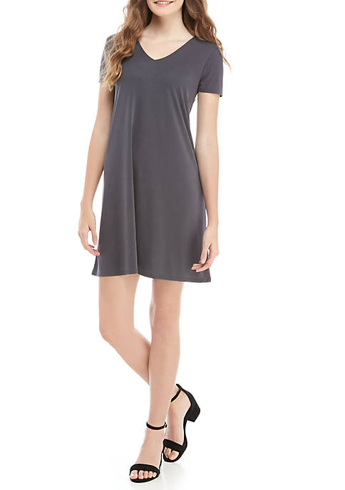 Short Sleeve T Back Swing Dress