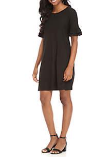 Ruffle Three-Quarter Sleeve Knit Dress