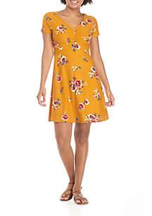 V-Neck Cinched Front Dress
