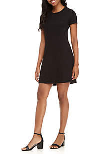 Basic Tee Shirt Cutout Back Dress