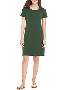 Basic Tee Shirt Cutout Back Dress