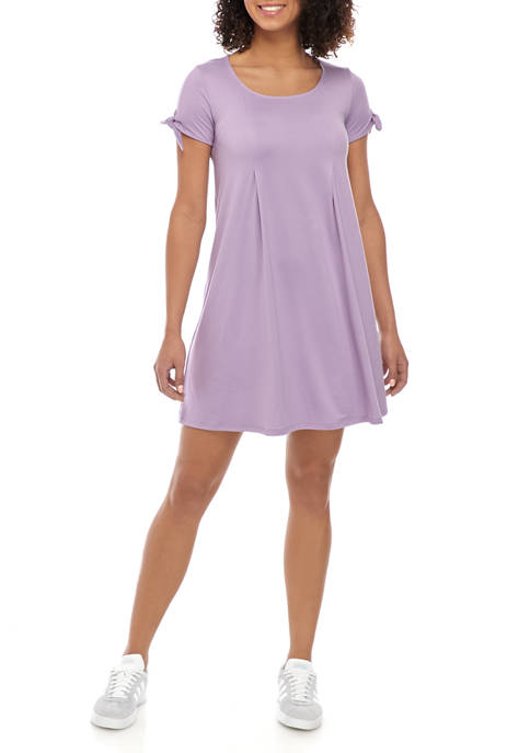 Pink Rose Juniors Short Tie Sleeve T-Shirt Dress