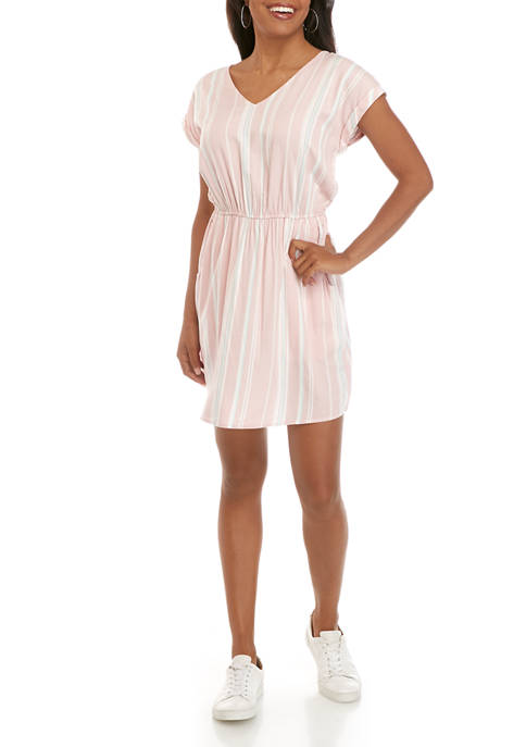 Pink Rose Juniors Short Sleeve Bar Back Dress