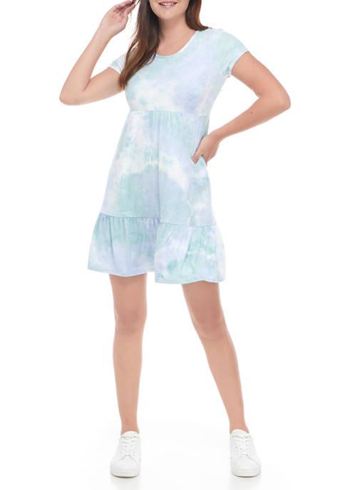 Pink Rose Juniors Short Sleeve Peached Babydoll Dress