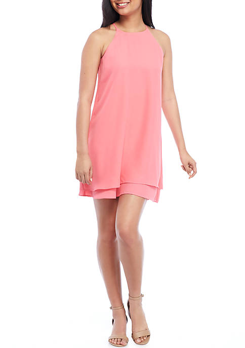 Pink Rose Double Layer Woven Dress