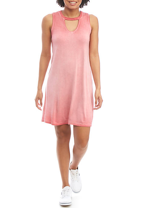 Pink Rose Washed Gigi Neck Knit Dress