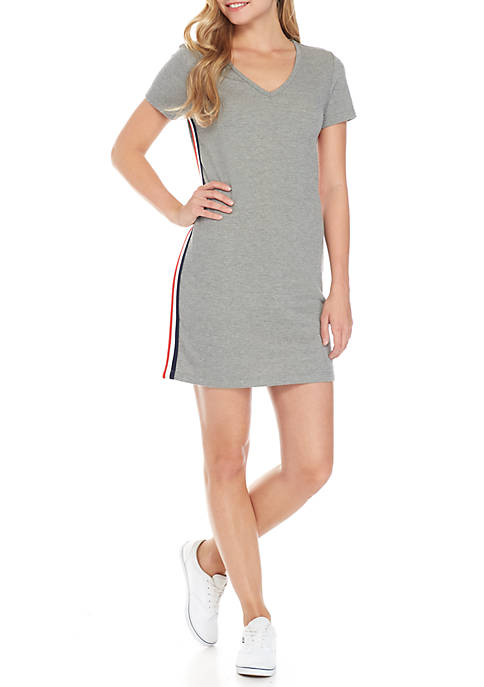 Pink Rose Side Stripe Short Sleeve V-Neck Dress