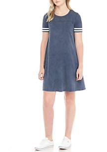 Washed Varsity Short Sleeve T-Shirt Dress