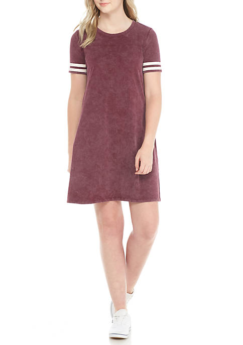 Pink Rose Washed Varsity Short Sleeve T-Shirt Dress