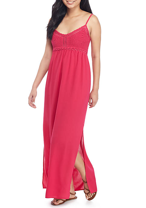 Pink Rose Crochet Top Maxi Dress