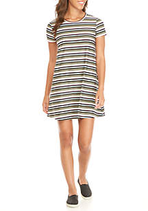 Lace-Up Back T-Shirt Dress