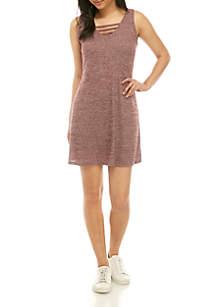 Pink Rose Lattice Space Dye Knit Tank Dress