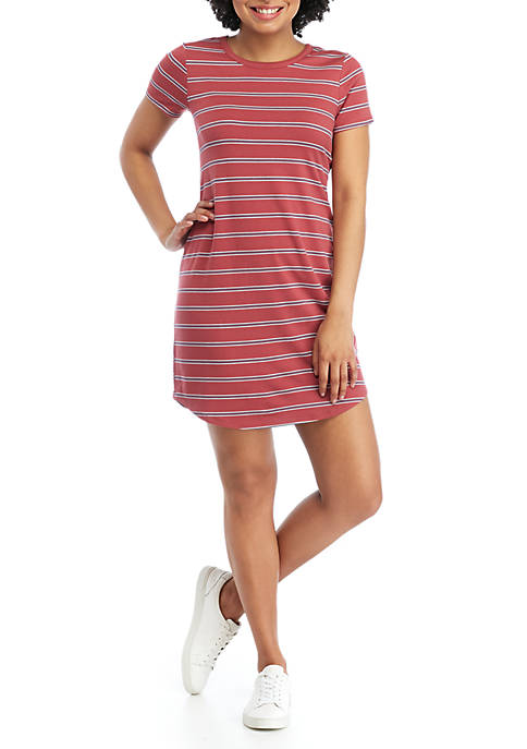 Short Sleeve Crew Neck Stripe Dress