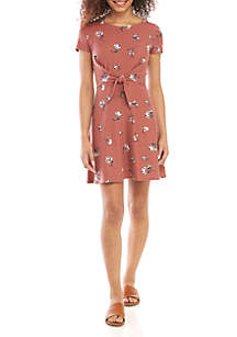 Pink Rose Tie Front Floral Dress