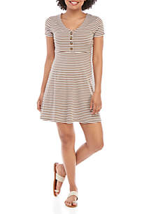 Pink Rose Short Sleeve Button Front Striped Dress
