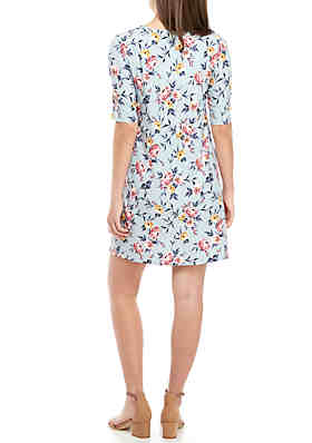 69a13d994f ... Pink Rose Short Sleeve Pleated Front Knit Dress. Doorbuster. Blue Floral